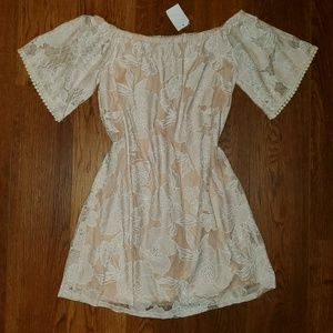 Womens Charlotte Russe lace off the shoulder dress